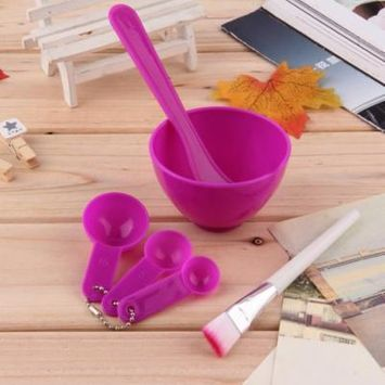 4 in 1 DIY Facial Mask Mixing Bowl Brush Spoon Stick Tool Face Care Set