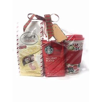 Starbucks Holiday Blend Ground Coffee with maple notes Gift Set includes Peppermint White Chocolate Truffles and Christmas Holiday Cup