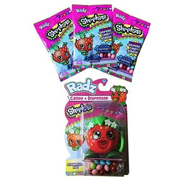 Shopkins Strawberry Kiss Toy Candy Dispenser with 3 Packs of Refill Candy Gluten & Peanut FREE