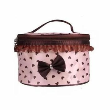 Cosmetic Case Toiletry Organizer-Pink with Coffee Hearts