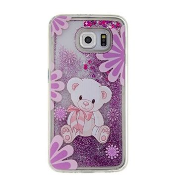 UCLL Samsung Galaxy S6 Case ,Lovely Bear Design Galaxy S6 Solf Liquid Bling Glitter Case, Galaxy S6 Ultra Slim F Luxury Case with a free Screen Protector