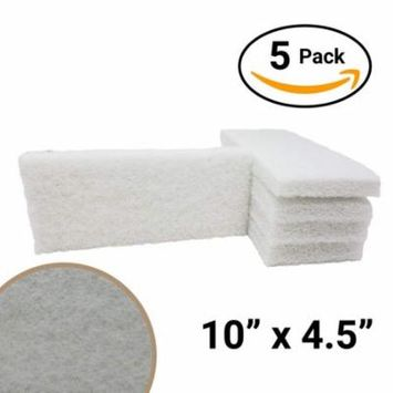 For Your Water Commercial-Grade Non-Abrasive White Cleaning Pad 5 Pack Large, Multi-Purpose 10 in x 4 1/2 in Scouring Pad Fits Universal Holders for Scrubbing Sinks, Tile, Windows and Fine China