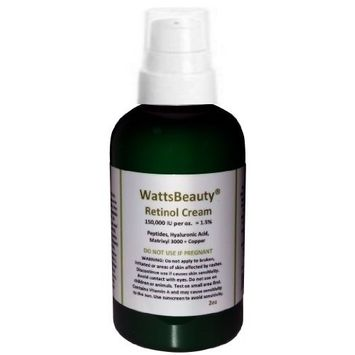 Watts Beauty Anti Aging Retinol Optimized with Peptides, Matrixyl, Copper & Hyaluronic Acid Face Cream - 2oz