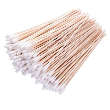 Hicarer 500 Pieces 6 Inch Swabs Cotton Stick Cotton Tipped Applicator Single Tip with Wooden Handle