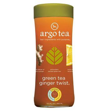 Argo Iced Green Tea Ginger Twist 13.5 Oz Glass Bottles - Pack of 12