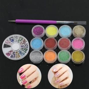 12 Color Glitter Powder + Nail Art Brush + Rhinestones Wheel Decor Manicure Tool