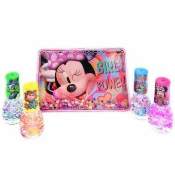 Disney Minnie Mouse Girls Nail Polish Sparkle Gift Set Storage Box Case 5pc