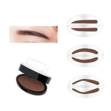 AUCH Waterproof EyeBrow Powder with 3 Stencils Stamp, Beauty Tools Quick Makeup, Sandy Beige