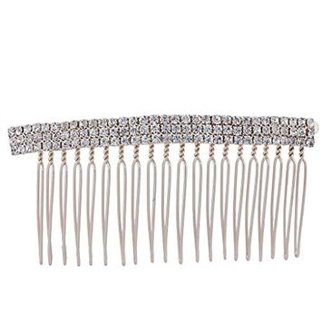 Lux Accessories Rose Gold Tone Crystal Rhinestone Bling 3 Row Design Hair Comb