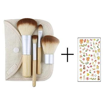 Bluelans® Bamboo Makeup Brush Set 4pcs Make Up Brushes with a Cosmetic Bag
