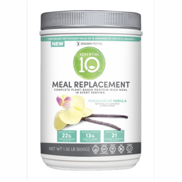 Designer Protein Essential 10 Meal Replacement 100% Plant Based Protein Madagascar Vanilla-540 Grams Powder (Pack of 36)