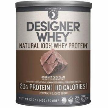 2 Pack - Designer Protein Natural 100% Whey Protein, Gourmet Chocolate, 12 oz