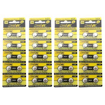 HyperPS (40 pcs) AG4 Alkaline 1.5V Button Cell Battery Single Use LR626 LR66 SR626 V377 GP377 606 Watch Toys Remotes Cameras
