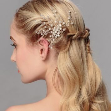Sunrisee Wedding Bridal Hair Side Comb with Pearls and Crystals Wedding Hair Accessories for Women and Girls