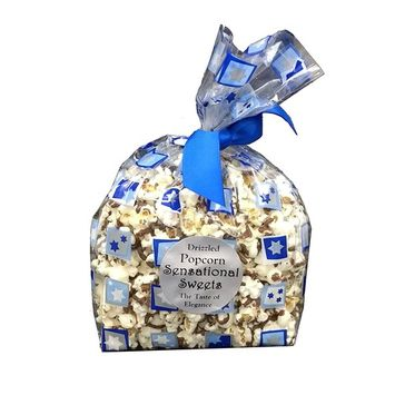 Hanukkah Gift Bag of Chocolate Drizzled Gourmet Popcorn, 3oz, Gluten-Free