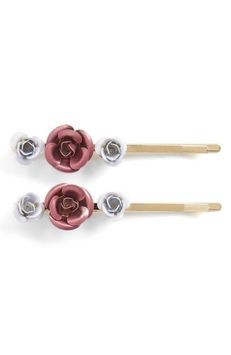 Berry 2-Pack Metal Flower Bobby Pins, Size One Size - Pink