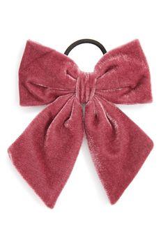 Berry Velvet Bow Ponytail Holder, Size One Size - Burgundy