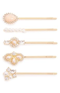 Berry 4-Pack Embellished Bobby Pins, Size One Size - Metallic