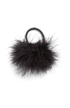 Berry Feather Pompom Ponytail Holder, Size One Size - Black