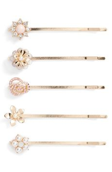 Berry Gold Flower 5-Pack Bobby Pins, Size One Size - Metallic