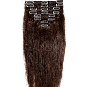 Standard Weft 18 Inch 100g Wine Red Clip in 100% Real Remy Human Hair Extensions 8 Pieces 18 Clips []