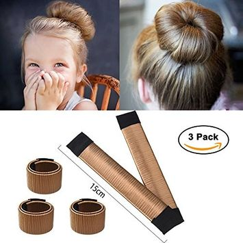 Ochioly Hair Bun Maker, Size 5.9 inch Magic Bun Shaper Donut Hair Styling for Kids Curler Roller Dish Headbands,3 Pack