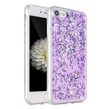 UCLL iphone 7 Case,Clear Bling Shiny Sparkling Case for 4.7 inch Iphone 7 Luxury Flexible Transparent Soft i7 Glitter Case with a free Screen Protector Rose G