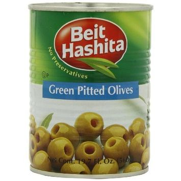 Beit Hashita Green Pitted Olives, 19.7-Ounce (Pack of 6)