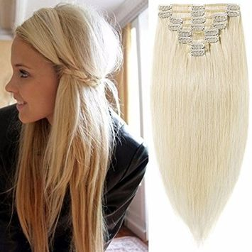 Standard Weft 16 Inch 90g Clip in 100% Real Remy Human Hair Extensions 8 Pieces 18 Clips #60 Platinum Blonde []