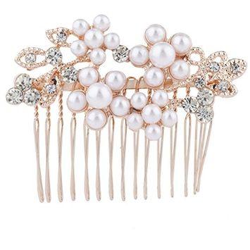 Lux Accessories Rose Goldtone Rhinestone Faux Pearl Flower Leaf Hair Comb