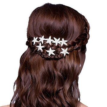 Polytree 6 Pcs Starfish Crystal Hair Pins U-shape Hair Clips for Women