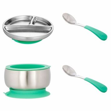 Avanchy Stainless Steel Toddler Feeding Divided Plate + Silicone Suction, Baby, Kid, Child Plates.