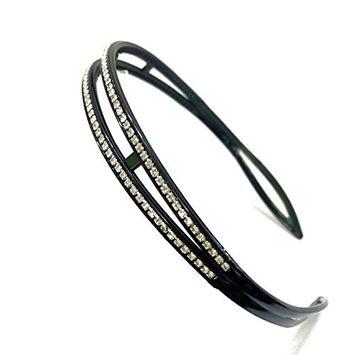 MeeTHan Crystal Rhinestone Diamond Black Headband: H26
