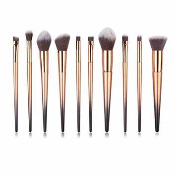 Start_wuvi Makeup Brushes 10PCS Khaki Make up Brush Set Premium Synthetic Blending Eyeshadow Brush Face Powder Blush Concealers Foundation Cosmetic Brushes Kit