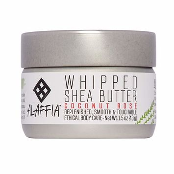 Alaffia - Whipped Shea Butter, All Skin Types, Moisturizing Support to Soften and Nourish Skin with Shea Butter and Coconut Oil, Fair Trade, No Parabens, Vegan, Coconut Rose, 1.5 Ounces [Coconut Rose]