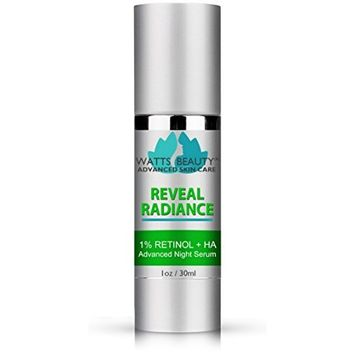 Watts Beauty Reveal Radiance Anti Aging Retinol Serum with Hyaluronic Acid and Jojoba Oil - An Anti Wrinkle Retinol Face Moisturizer to Reveal and Maintain Your Radiant, More Youthful Appearance [1oz]