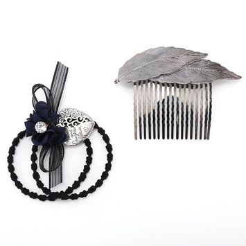 KimmyKu Set of 2 pcs Beautiful Vintage Leaf Ture Zircon Rhinestone Crystal Hair Ties Hair Comb clips Pins HeadpiecesParty Birthday Gift For Women Teens Girls Lady
