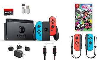 Ushopmall & Switch Nintendo Switch Bundle (7 items): 32GB Console Neon Red Blue Joy-con, Game Disc Splatoon 2, Extra Pair of Joy-con Red and Blue,128GB Micro SD Card, Type C Cable, HDMI Wall Charger