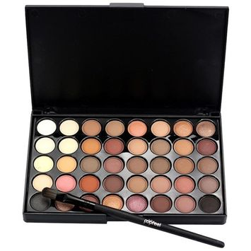 40 Colors Eyeshadow Cream Matte Eye Shadow Palette Brush Set, Staron Shimmer Eye Shadow Cosmetic Glitter Makeup Kit Eyeshadow Palette+Brush