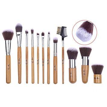 Makeup Brushes,New Star 12 Pieces Makeup Brush Set Professional Bamboo Handle Premium Synthetic Kabuki Foundation Blending Blush Concealer Eye Face Liquid Powder Cream Cosmetics Brushes Kit With Bag