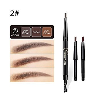 Bangood 3 In 1 Triangle Eyebrow Pencil Automatic Waterproof Natural Eyebrow Pen with Brush 2#