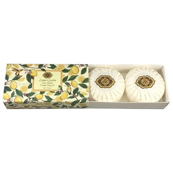 Lemon Garden, Shea Butter, Double Soap Gift Set. Made in England, Triple Milled, Environmentally Friendly, (Green). Two 3.5 oz. round bars.