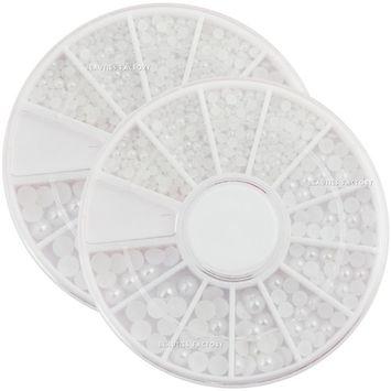 Beauties Factory 2 Wheels x Nail Art Pure White Pearl 3 Sizes 1.5-2.0-3.0mm Rhinestone