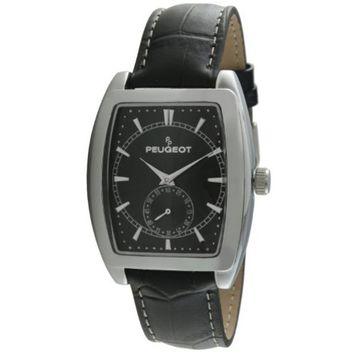 Peugeot - Peugeot Men's 2027BK Black Leather Strap Sweep Dial Watch [name: actual_color value: actual_color-black]