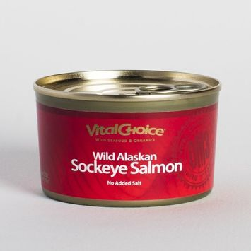 Vital Choice Wild Alaskan Traditional Sockeye Salmon No Salt Added, 7.5 Ounce cans, Pack of 6