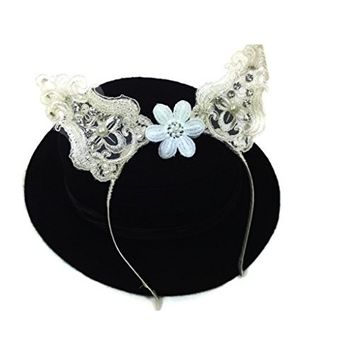 MeeTHan Vintage Lace Pearl Flower Cat Ear Butterfly Headband :VT1