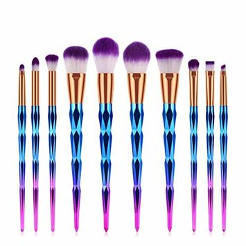 Start_wuvi Makeup Brushes 10PCS Diamond Handle Makeup Brush Set Premium Synthetic Blending Eyeshadow Brush Face Powder Blush Concealers Foundation Make Up Brushes Kit
