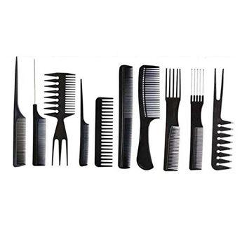 Polytree 10pcs Pro Plastic Salon Hair Styling Hairdressing Barbers Brush Combs Set