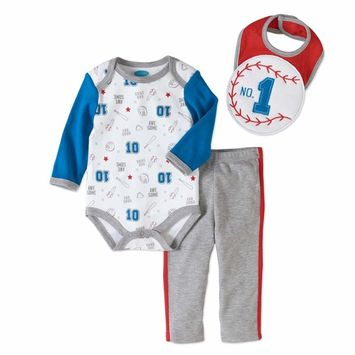 born Baby Boy Bodysuit, 3D Bib & Pant 3pc Set