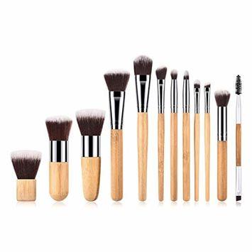 Start_wuvi Makeup Brushes 12PCS Bamboo Makeup Brush Set Premium Synthetic Foundation Fan Brush Blending Face Powder Blush Concealers Eye Shadows Make Up Brushes Kit